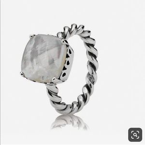 PANDORA Mother of Pearl silver ring size 7